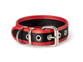 32mm Bondage Collar soft leather with red trim and D-Ring