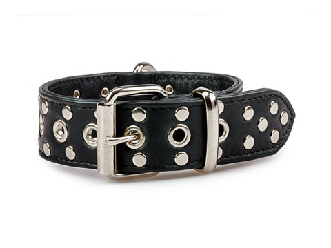 38mm Bondage Collar soft leather with rivets, eyelets and D-Ring